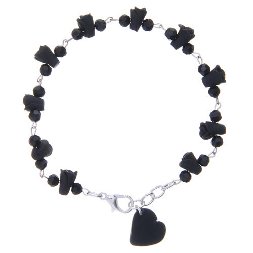 Medjugorje Rosary bracelet, black with crystal beads and ceramic hearts 1