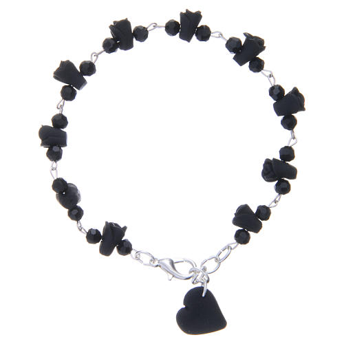 Medjugorje Rosary bracelet, black with crystal beads and ceramic hearts 2