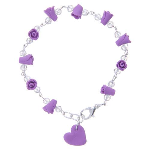 Bracelet Medjugorje lavande grains cristal 2