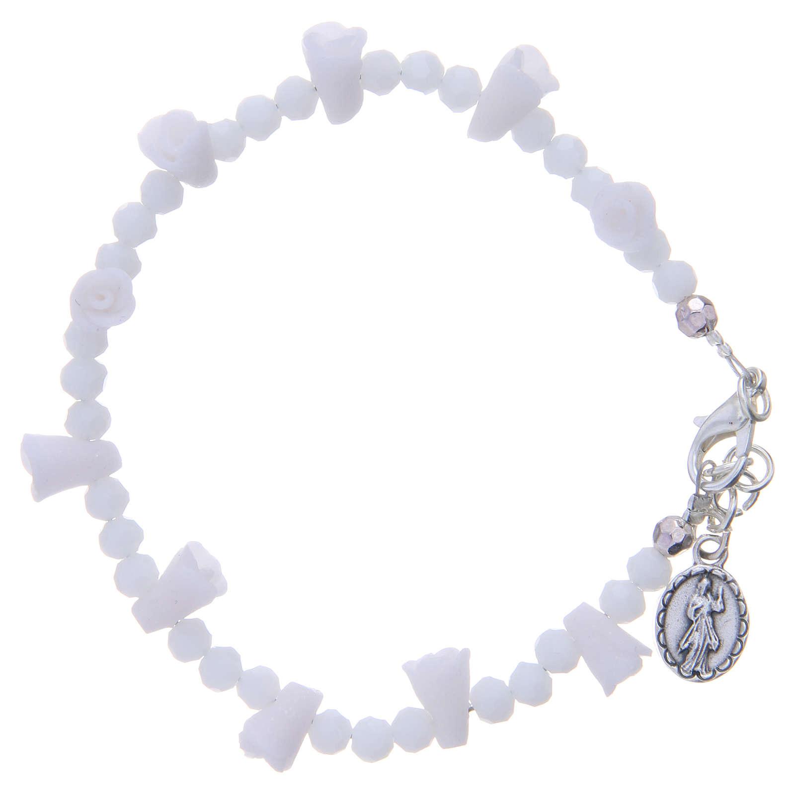 Bracciale Medjugorje bianco icona Madonna 4