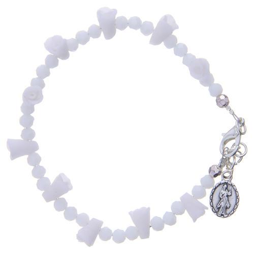 Bracciale Medjugorje bianco icona Madonna 2
