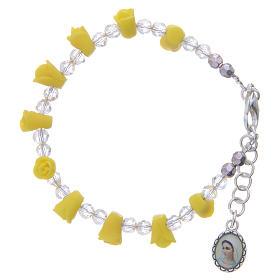 Bracelets, dizainiers: Bracelet chapelet Medjugorje jaune icône Vierge