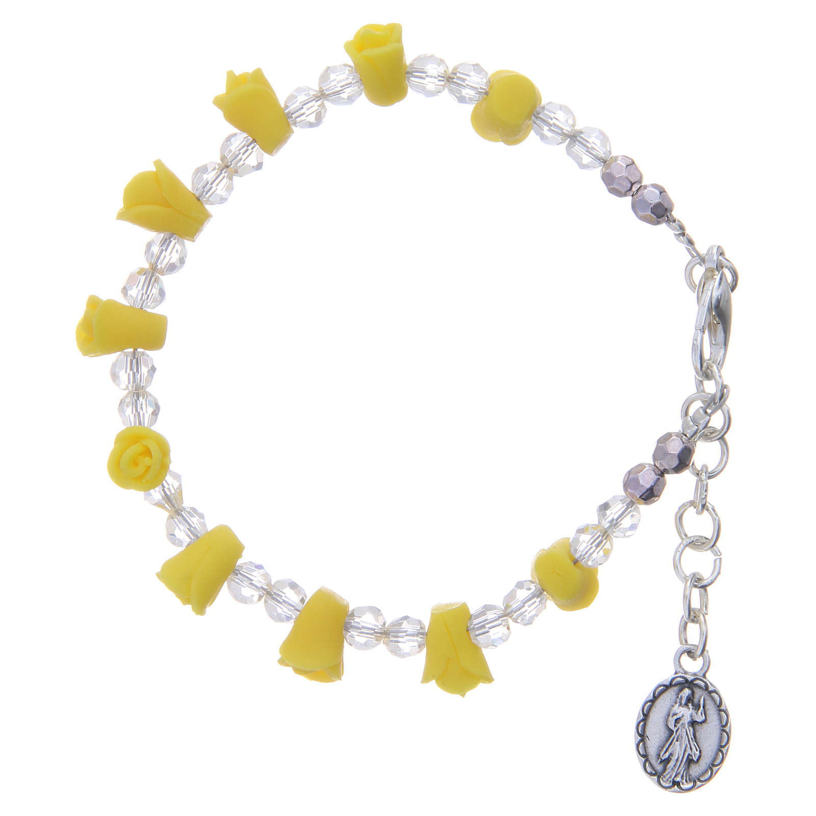 Bracciale rosario Medjugorje giallo icona Madonna 4
