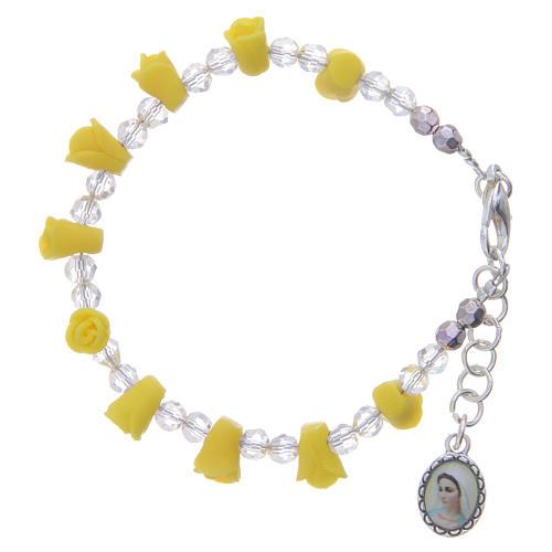 Bracciale rosario Medjugorje giallo icona Madonna 1
