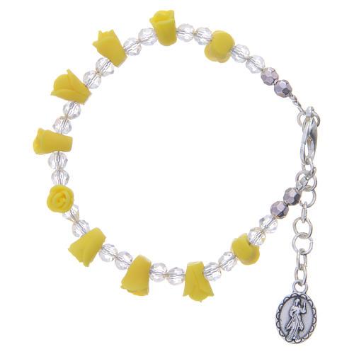 Bracciale rosario Medjugorje giallo icona Madonna 2