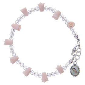 Bracelets, dizainiers: Bracelet Medjugorje rose icône Vierge roses céramique