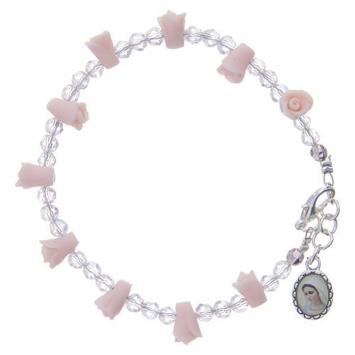 Bracciale Medjugorje rosa icona Madonna rose ceramica 1