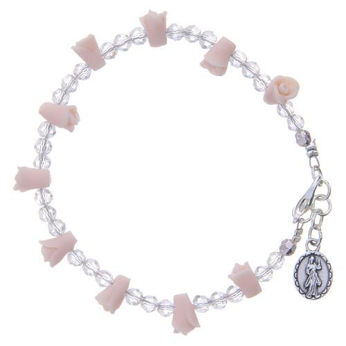 Bracciale Medjugorje rosa icona Madonna rose ceramica 2