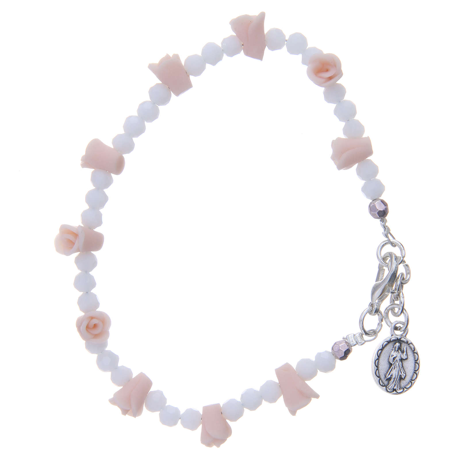 Medjugorje Rosary necklace with ceramic roses, crystal grains and icon of Our Lady 4