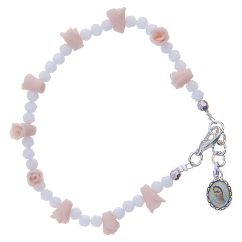 Medjugorje Rosary necklace with ceramic roses, crystal grains and icon of Our Lady 1