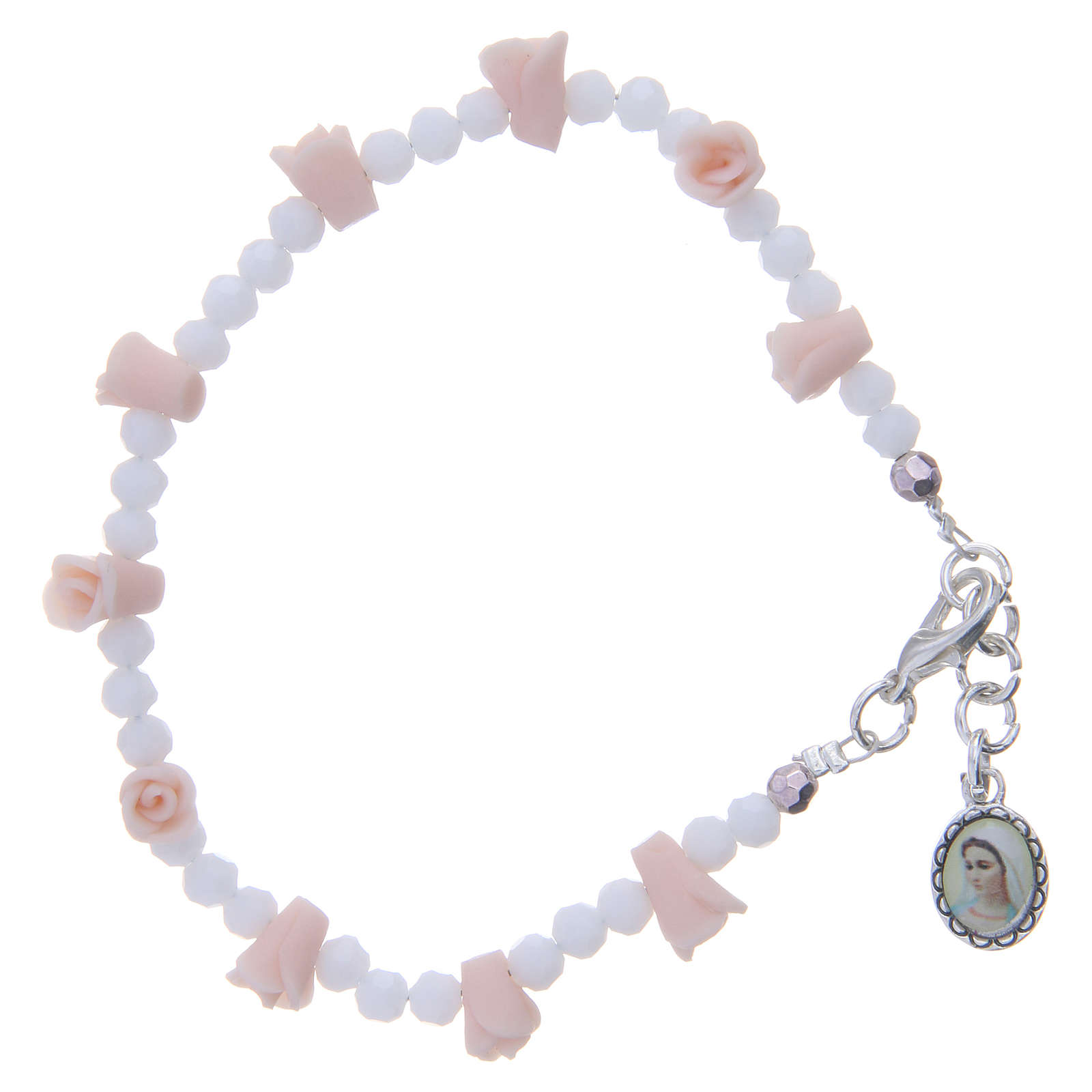 Pulsera Medjugorje icono Virgen rosas cerámica cuentas cristal 4