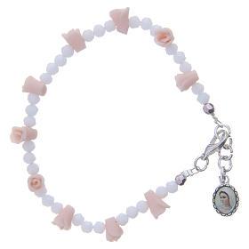 Pulsera Medjugorje icono Virgen rosas cerámica cuentas cristal s1