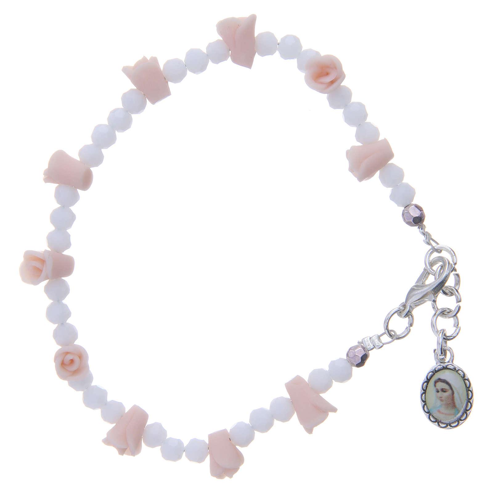 Bracelet Medjugorje icône Vierge roses céramique grains cristal 4
