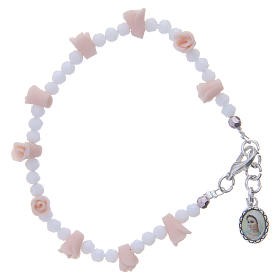 Bracelets, dizainiers: Bracelet Medjugorje icône Vierge roses céramique grains cristal