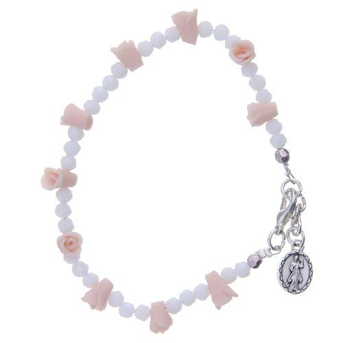 Bracelet Medjugorje icône Vierge roses céramique grains cristal 2
