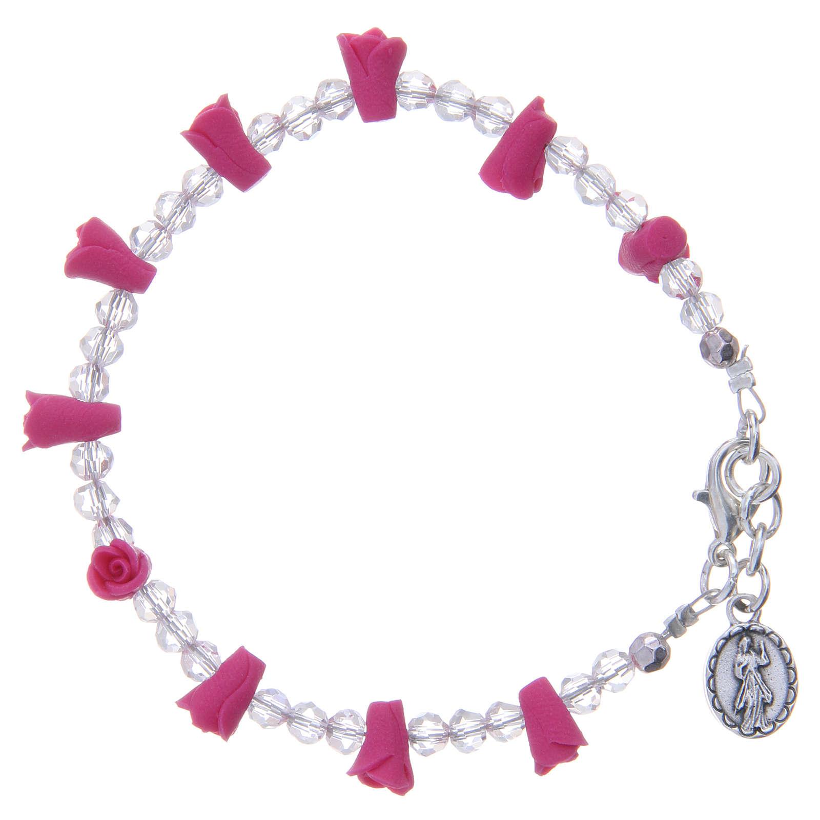 Bracelet Medjugorje fuchsia icône Vierge 4