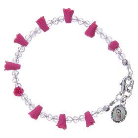 Bracelets, dizainiers: Bracelet Medjugorje fuchsia icône Vierge
