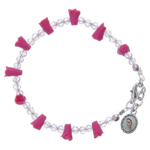 Bracelet Medjugorje fuchsia icône Vierge 1