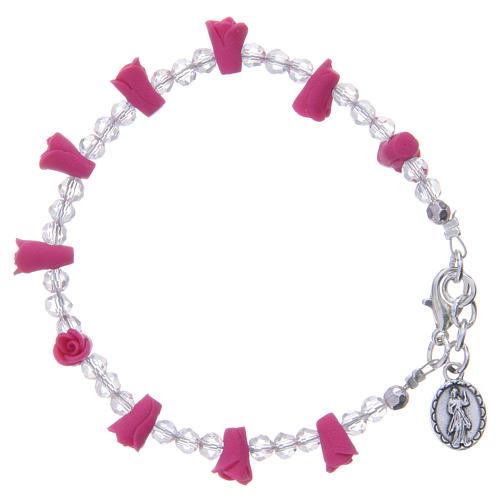 Bracelet Medjugorje fuchsia icône Vierge 2