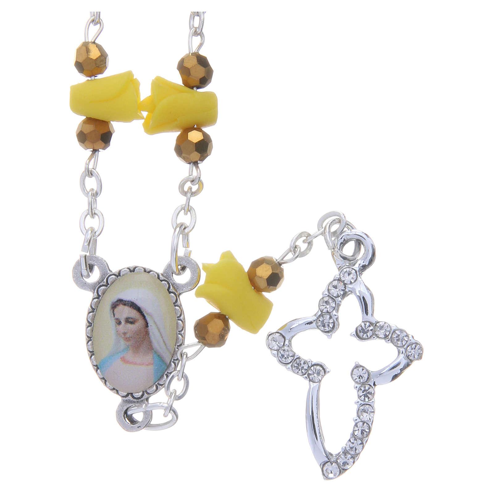 Collar rosario Medjugorje rosas amarillo cerámica imagen Virgen María 4