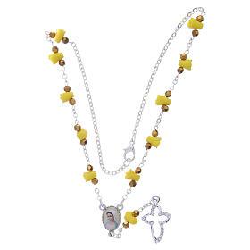 Collar rosario Medjugorje rosas amarillo cerámica imagen Virgen María s4