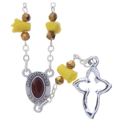 Collar rosario Medjugorje rosas amarillo cerámica imagen Virgen María 2