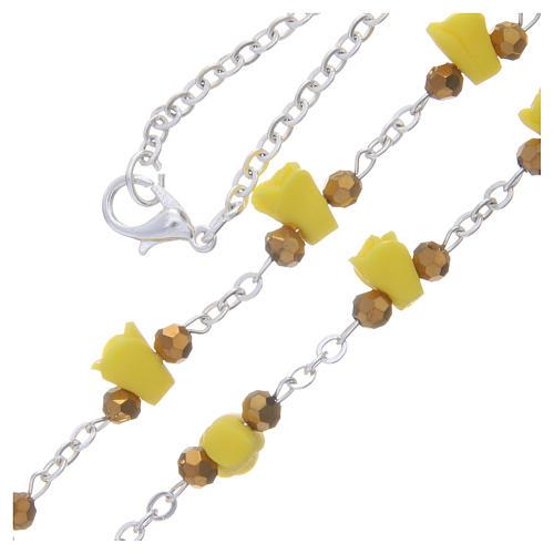 Collar rosario Medjugorje rosas amarillo cerámica imagen Virgen María 3