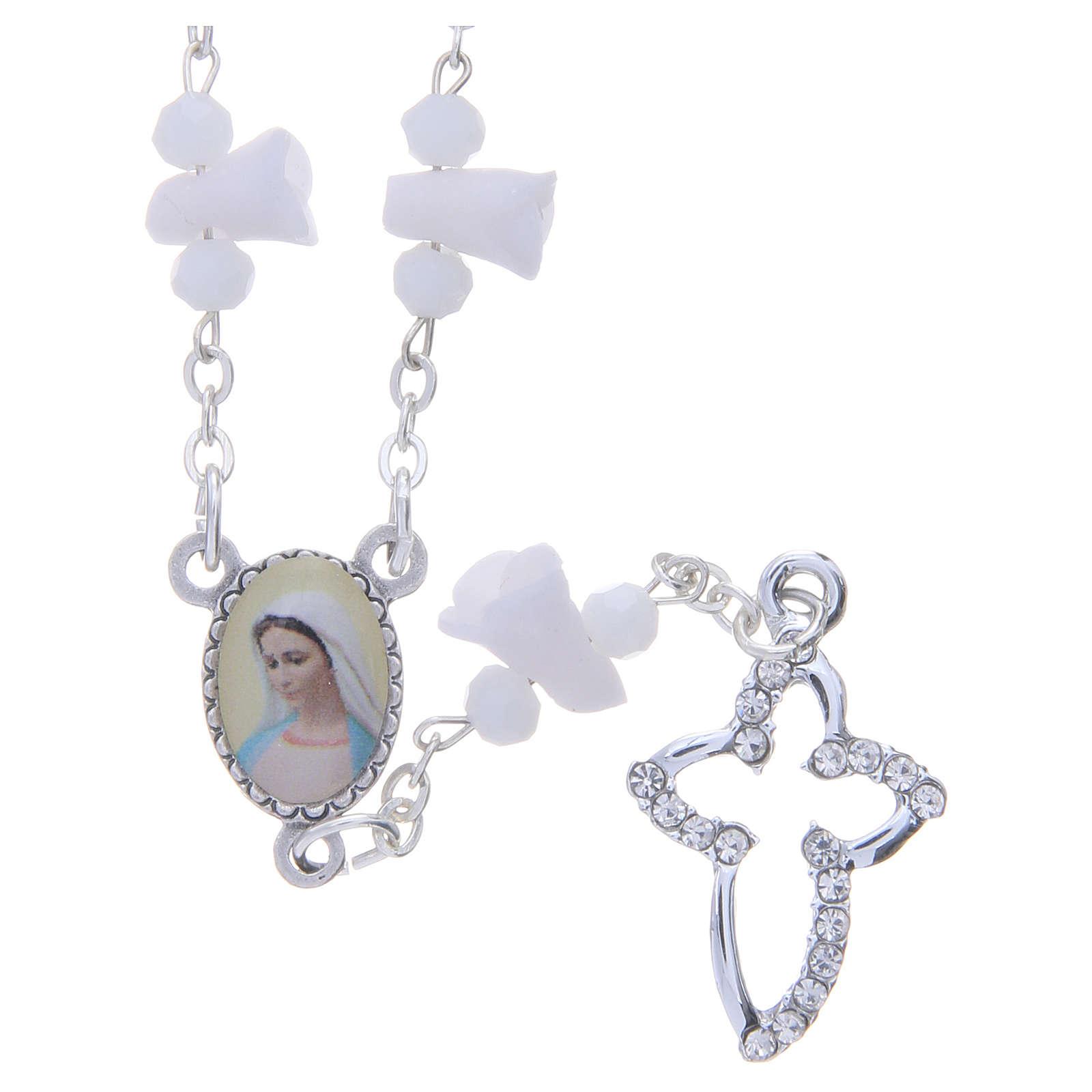 Collar rosario Medjugorje rosas blancas cerámica imagen Virgen María 4