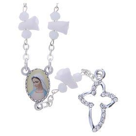 Collar rosario Medjugorje rosas blancas cerámica imagen Virgen María s1