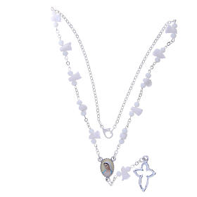 Collar rosario Medjugorje rosas blancas cerámica imagen Virgen María s4