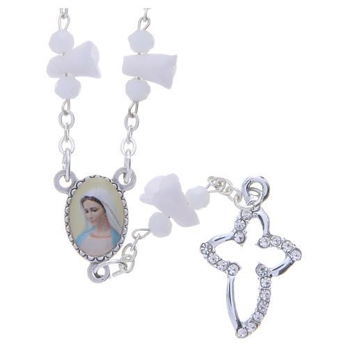 Collar rosario Medjugorje rosas blancas cerámica imagen Virgen María 1