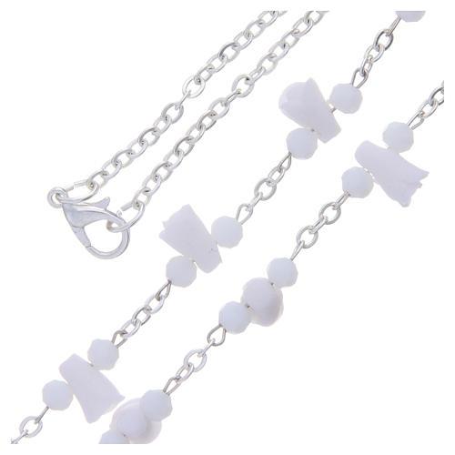 Collar rosario Medjugorje rosas blancas cerámica imagen Virgen María 3