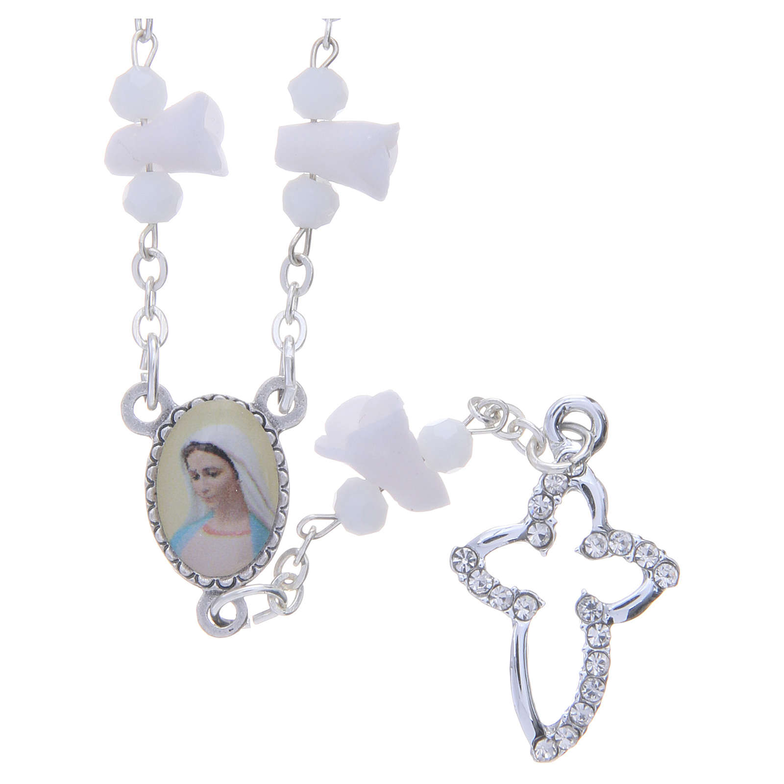 Collier chapelet Medjugorje roses blanches céramique icône Vierge 4