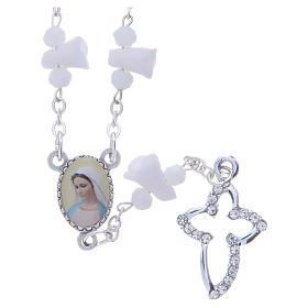Collier chapelet Medjugorje roses blanches céramique icône Vierge s1