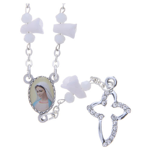 Collier chapelet Medjugorje roses blanches céramique icône Vierge 1