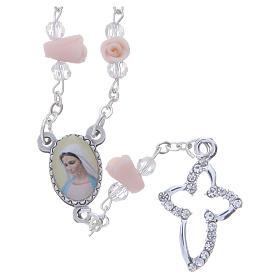 Chapelets et boîte chapelets: Collier chapelet Medjugorje roses céramique icône Vierge