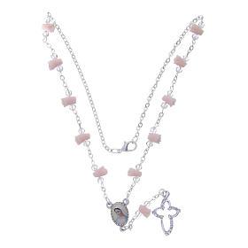 Collier chapelet Medjugorje roses céramique icône Vierge s4