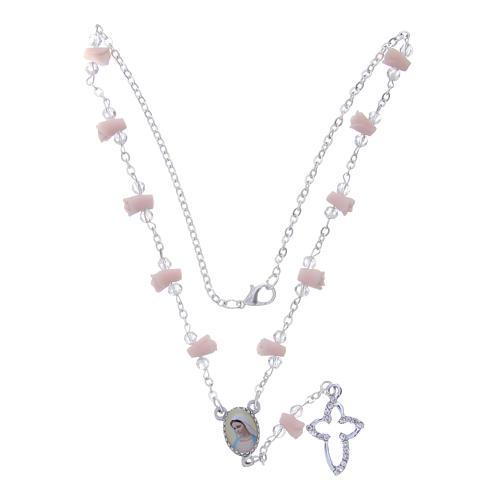 Collier chapelet Medjugorje roses céramique icône Vierge 4