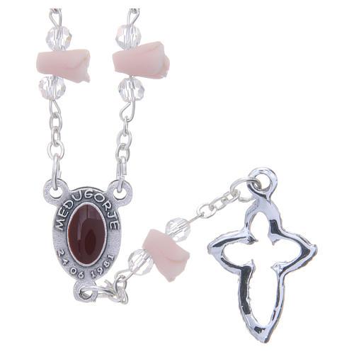 Collana rosario Medjugorje rose ceramica icona Madonna 2