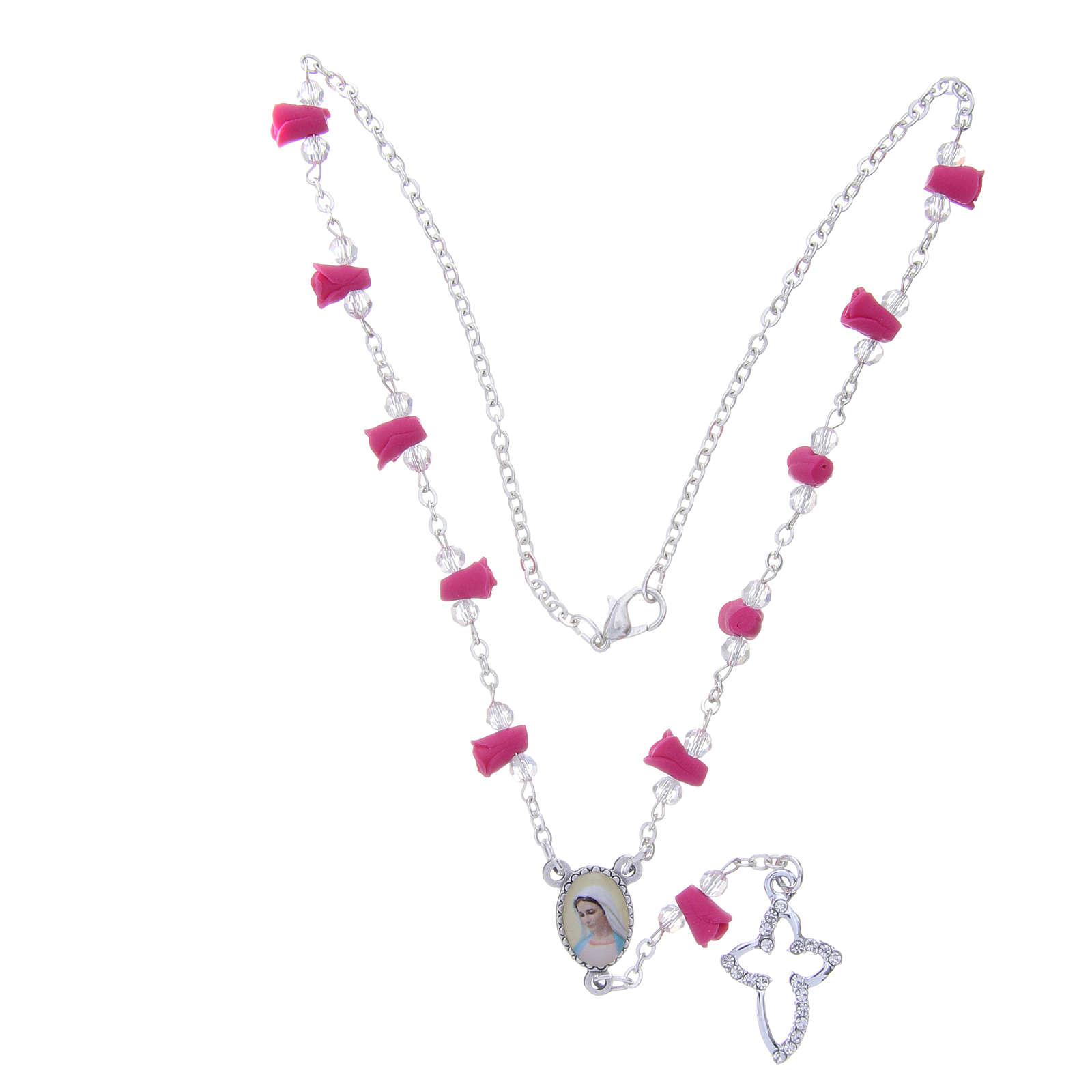 Collar rosario Medjugorje rosas fucsia cerámica icono Virgen María 4