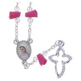 Collar rosario Medjugorje rosas fucsia cerámica icono Virgen María s1