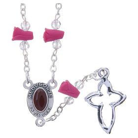 Collar rosario Medjugorje rosas fucsia cerámica icono Virgen María s2