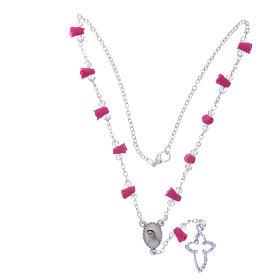 Collar rosario Medjugorje rosas fucsia cerámica icono Virgen María s4