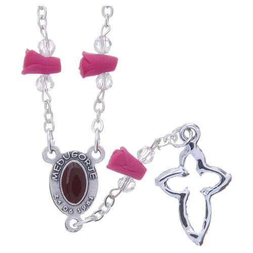 Collar rosario Medjugorje rosas fucsia cerámica icono Virgen María 2