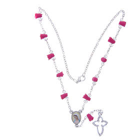 Collana rosario Medjugorje rose fucsia ceramica icona Madonna s4