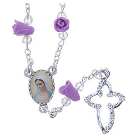Collar rosario Medjugorje rosas color glicina cerámica icono Virgen María s1