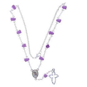 Collar rosario Medjugorje rosas color glicina cerámica icono Virgen María s4
