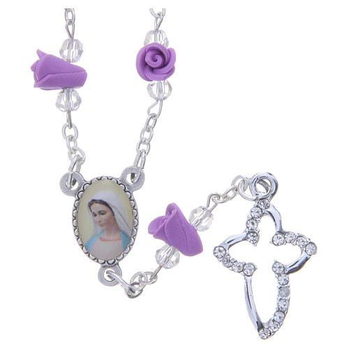 Collar rosario Medjugorje rosas color glicina cerámica icono Virgen María 1