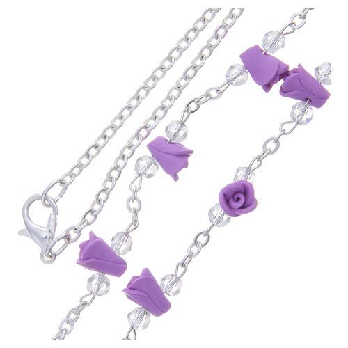 Collar rosario Medjugorje rosas color glicina cerámica icono Virgen María 3