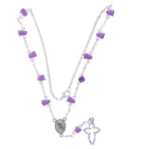 Collar rosario Medjugorje rosas color glicina cerámica icono Virgen María 4